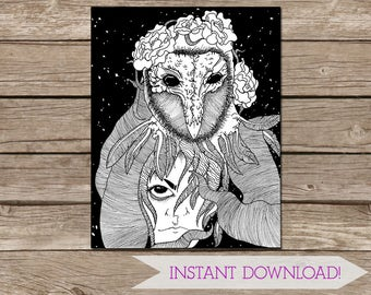 Surreal black and white hand drawn DIGITAL DOWNLOAD - Space Art - Owl Drawing - Symbolic Art - Printable Art - 11x14 inches - Penned Art
