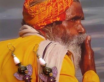 Indian style tribal earrings - earrings Bohemian hippie chic - Gypsy - folk - jewels of the world - India - gispy