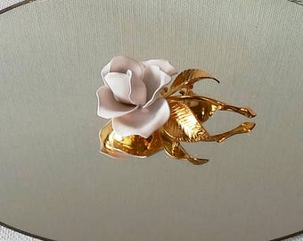 """Vintage Cerrito Enameled White and Gold Rose Brooch     1 3/8"""" W x 2 1/4"""" L x 3/4""""D"""