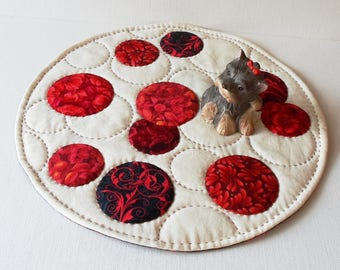 Handmade Round Quilted Red Bubbles Cotton Table Topper