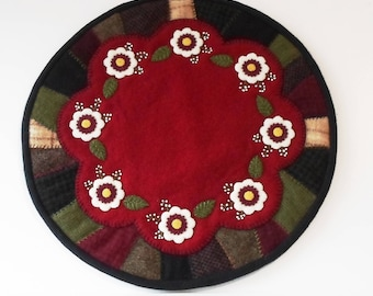 Handmade Felted Wool Winter Rose Crazy Patch Candle Mat Table Topper