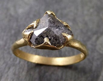 Fancy cut salt and pepper Diamond Solitaire Engagement 18k yellow Gold Wedding Ring Diamond Ring byAngeline 1049