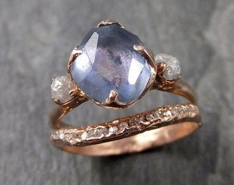 Partially faceted Montana Sapphire Diamond 14k rose Gold Engagement Ring Wedding Ring Custom blue Gemstone Ring Multi stone Ring 1063