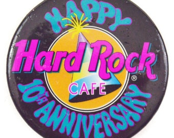Vintage 80s Hard Rock Cafe Happy 10th Anniversary Pinback Button Badge Pin