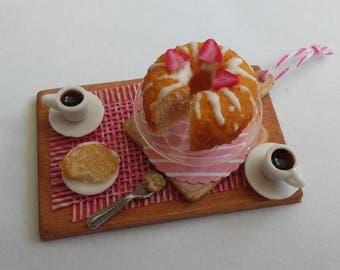 1:12 Scale Miniature Vanilla Cake and Coffee Set