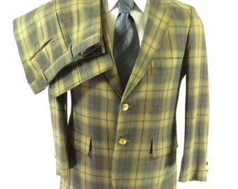 Vintage 60s 2 Piece Suit Jacket Mens 38 Pants 32 x 28 Scottish Highland [H69S_2-9]