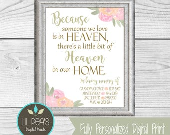 Personalized Memorial Gift, Memorial Print, Because Someone We Love is in Heaven, Printable Memorial Gift, Death of a Loved One Memorial