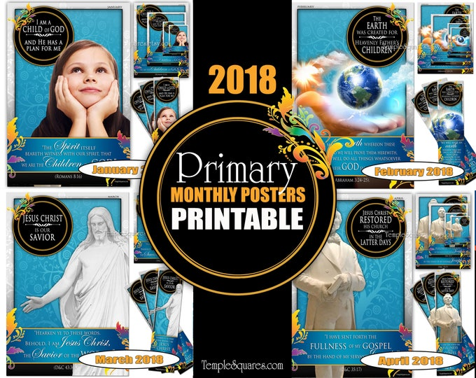 Printable Primary Monthly Posters 2018 I am a Child of God Poster Bookmark and Handouts 5 sizes XL poster size down to handout size Jan-Apr