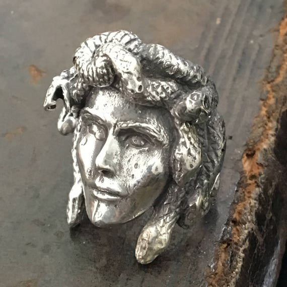 Etherial Jewelry - Rock Chic Talisman Luxury Biker Custom Handmade Artisan Pure Sterling Silver .925 Gorgon Medusa Ring Greek Mythology Ring