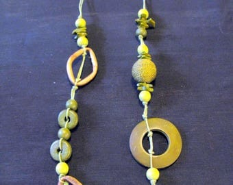 Boho jewelry, green necklace beaded sage green long necklaces summer