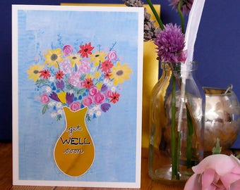 Get Well Soon Hand Painted, Gold Foiled A6 Greetings Card, Blank Card, Get Well Soon Card, Floral Card, Flower Card, Foiled Card, Gold Card