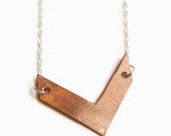 Chevron Necklace Copper and Sterling Silver - Copper or Brass Chevron Pendant