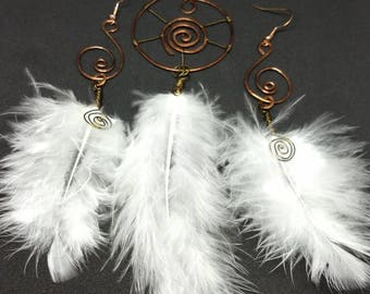 Copper dream catchers pendant and earring set