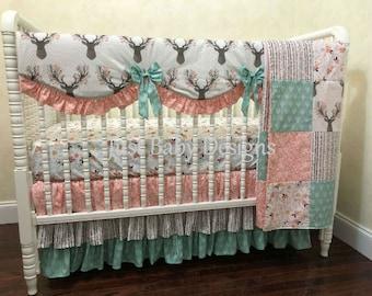 Baby Girl Deer Crib Bedding Chelsea, Woodland Fawn Girl Baby Bedding,  Coral and Mint Woodland Crib Bedding,  1 - 4 pieces
