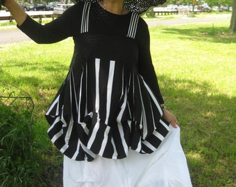 Asymmetrical Lagenlook/Bohemian striped tunic