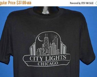 ON SALE 80s Chicago Skyline City Lights t-shirt Large