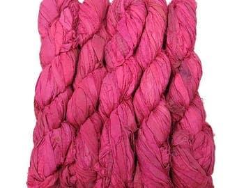 SALE New! Sari Silk Ribbon, 100g , Color: Girly Pink