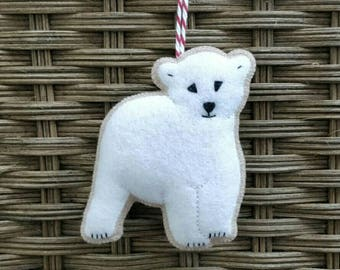 Felt Christmas Polar Bear ornament