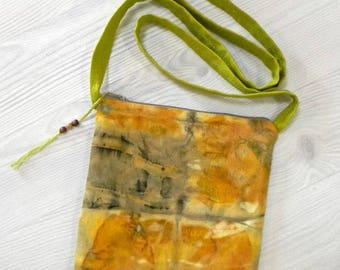 GPZB01 large zip pouch with shoulder strap, bag, natural dye