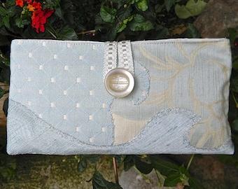 Zippered bag 05, make-up, evening bag, light blue, cream