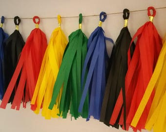 POWER RANGERS, 20 Tassel Olympic Tissue Paper Garland, Olympic Party Decorations, Red White Navy Blue, Rio Olympics, Team Usa, Garland