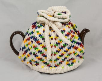 Knitted Teapot Cozy Cosie White with bright varigated design Scandinavian Fair Isle Design Hand knitted