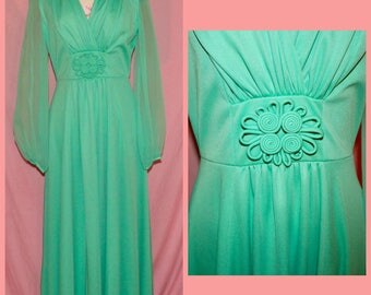 1960s/70s Seafoam evening gown with sheer sleeves