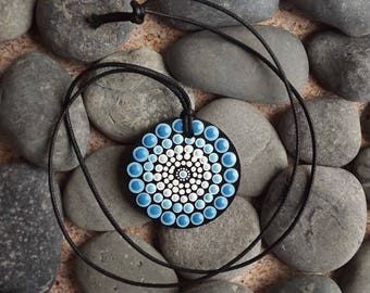 Salt Water Dot design, Authentic Aboriginal Dot Painted Wood Pendant, from the Biripi Nation, Australian Gift, Christmas Gift
