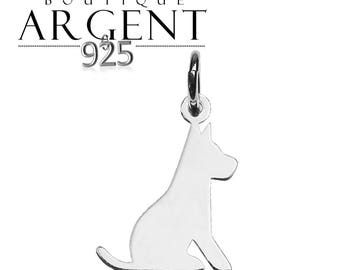 Dog animal pendant - 19.2 mm 925 sterling silver charm