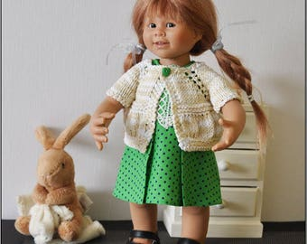small set dress and vest for doll Wichtel 32 cm