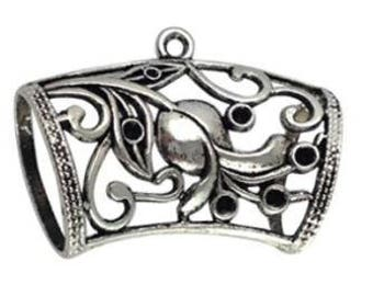 Floral Scarf Jewelry Slide Bail Antique Silver Filled Elegant Looking