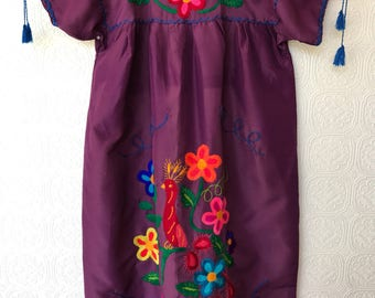 1970's Hand-embroidered Smock Dress