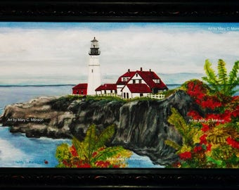 """LIGHTHOUSE - Portland, ME - 12""""x24"""" Original Painting - Framed - Signed by artist - FREE Shipping"""
