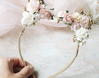 Blush pink and gold floral crown Pale pink headband Flower girl headband Flowergirl headband Bridesmaid headband Cat ears headband Cat