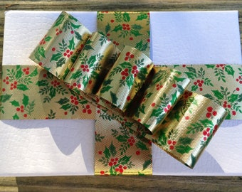 Gold metallic Christmas gift wrap ribbon holly design package decoration