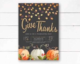 Friendsgiving Thanksgiving Invitation, Thanksgiving Invitation, Thanksgiving Dinner Invitation, Dinner Party Invitation, DIY or Printed