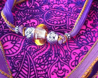 Bracelet/Necklace to tie in silk with yellow glass and metal beads