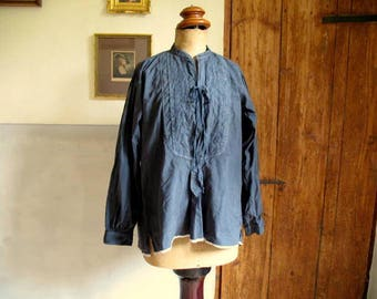 Antique French cotton shirt, dyed inky blue, great condition, 49 euro (A) monogram