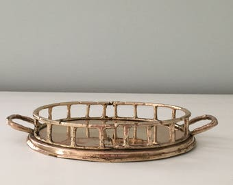 Vintage Small Oval Brass Bamboo Tray Perfume Tray Display Tray Chinoiserie Home Decor Hollywood Regency Style Brass Home Accent