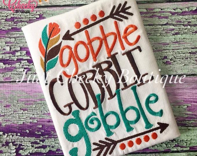 Gobble Gobble Gobble Embroidered Thanksgiving Shirt - Boys Thanksgiving Shirt - Fall Shirt - Turkey Day Shirt