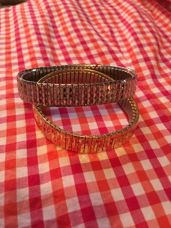 Unworn vintage Watch Band Style Silver & Gold Tone Stretch Band Matching 80s Bling Bracelets