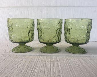3 seneca driftwood avocado green water goblets pedestal glasses retro bar cart green textured tall