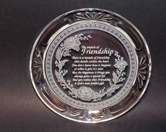 "Friendship Plate, Crystal Glass Plate, Miracle of Friendship Poem, Home Decor, Decorative Glass Plate, 7 1/8"" Plate, Collectible Plate, Gift"