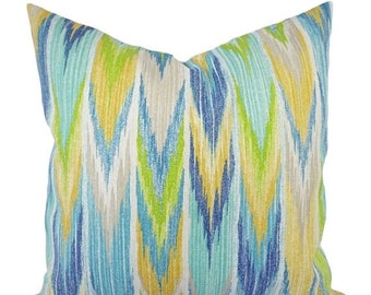 15% OFF SALE Two Green And Blue Outdoor Pillow Covers   Patio Pillows   Blue