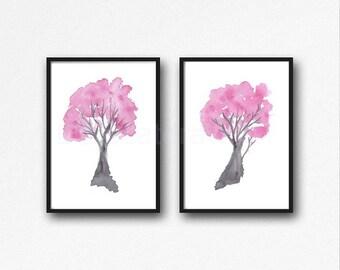Cherry Blossom Print Set Of 2 Tree Watercolor Painting Print Pink Wall Art Tree Print Watercolour Blossom Pink Home Decor Living Room Decor