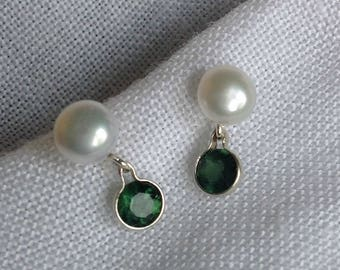 White Pearl and Green Apatite Sterling Silver Earrings