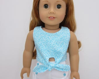 18 inch  doll clothes -  Blue and white print  reversible tie front top.