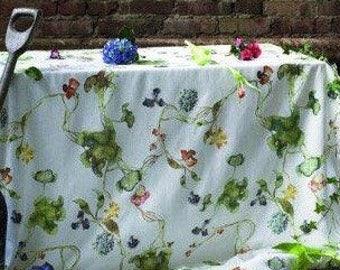 Scandinavian designer fabric. Grand Malin Björklund. High quality linen. Swedish modern design. Aquarelle painting spring floral pattern.