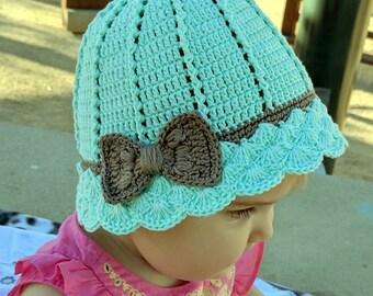 Crochet baby hat, sunhat, crocheted sun hat, baby sun hat, summer hat, flower girl hat