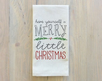 Have Yourself A Merry Little Christmas Napkin_Christmas, table setting, tableware, place setting, housewarming gift, party, dinner, event